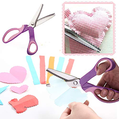 - Fabric Paper Pinking Craft Shears - Size of 3 5 7mm Stainless Steel Zig Zag Serrated Scalloped Edges Cut Scissors for Embroidery Sewing Dressmaking Cutting Needlework and Upholstery Dressmaking
