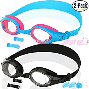 Kids Swim Goggles, Pack of 2, Swimming Glasses for Children and Early Teens from 3 to 15 Years Old, Anti-Fog, Waterproof, UV Protection, Made by COOLOO