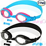 #5: COOLOO Kids Swim Goggles, Pack of 2, Swimming Glasses for Children and Early Teens from 3 to 15 Years Old, Anti-Fog, Waterproof, UV Protection, Made by