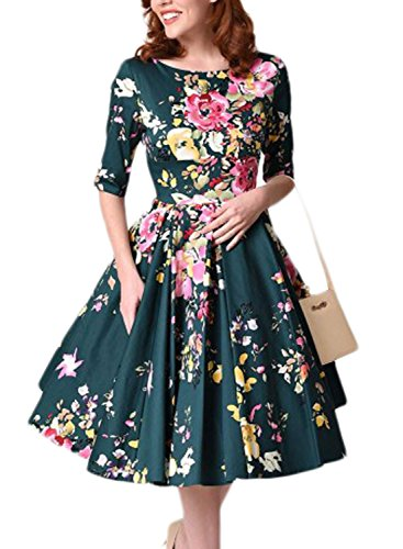 Sidefeel Women Vintage 1950's 3/4 Sleeve Floral Print Pleated Cocktail Swing Dress Small Dark - 1950 Vintage