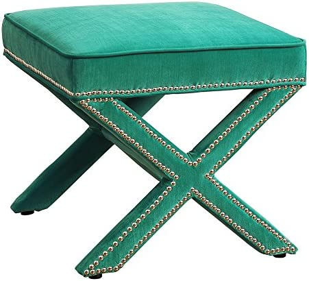 Tov Furniture The Reese Collection Velvet Upholstered Wood Square Living Room Foot Rest Ottoman, Green