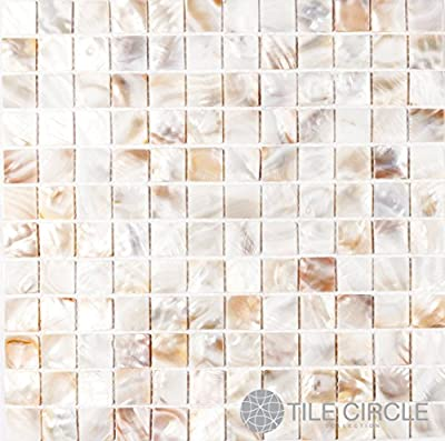 "Sample Size 4"" x 4"" Genuine Mother of Pearl Shell Tile Natural Varied 1"" X 1"" Squares for Backsplash and Bathroom Walls and Floors"