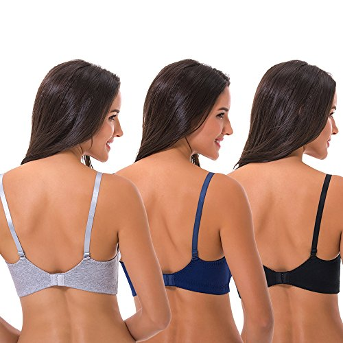 38c0aa7adf9 Curve Muse Women s Nursing Plus Size Wirefree Cotton Bra with Upper Lace- 3Pack lovely