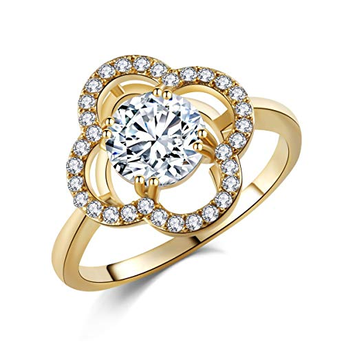SR 18k Rose Gold Plated Floral Design Cubic Zirconia Art Deco Fashion Halo Ring