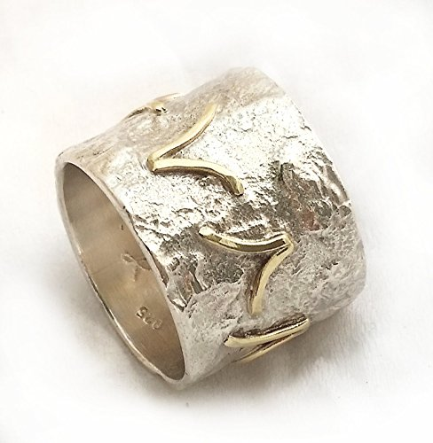 Chunky Wide Ring, Crumpled Tinfoil Texture, Handmade Sterling Silver and Yellow Gold Birds Ring, Contemporary, Graduation Gift, Women