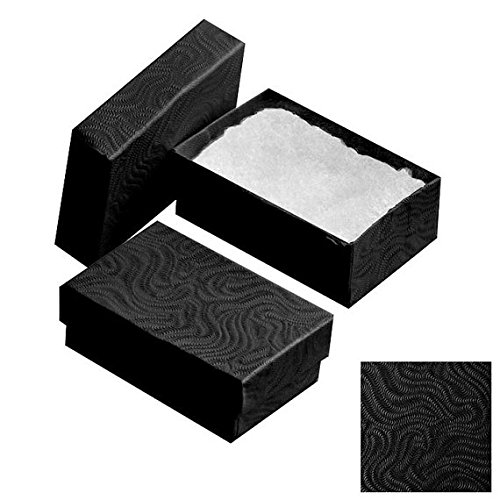 25 Pack Cotton Filled Swirl Black Color Jewelry Gift and Retail Boxes Jewelry Gift Collectible Packaging Boxes 2 1/8