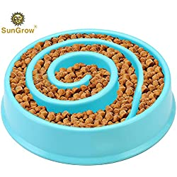 Dog Slow Feed Bowl - Spiral Design Promotes Interactive, Slow Eating - Prolong Meal Time Prevents Indigestion, Vomiting, Bloating - Free from BPA, PVC - Curbs Appetite