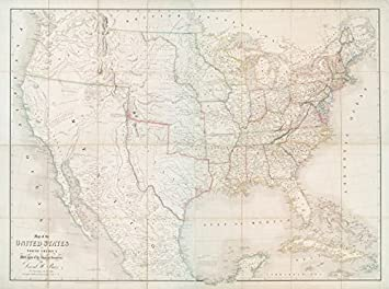 historic 1839 map map of the united states of north america with parts of