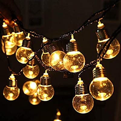 WONFAST Solar Bulb Lights Outdoor, Waterproof 2.5M 20 LED Plastic Solar Bulbs Ambiance Festive String Lights for Garden Terrace Patio Outside Xmas Party Wedding Decorations (Warm White)