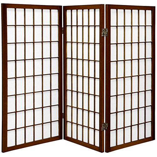 (ORIENTAL FURNITURE 3 ft. Tall Window Pane Shoji Screen - Walnut - 3 Panels)