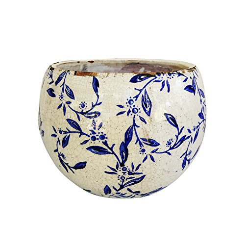 Plant Old Print - Old World Ceramic Blue and White Pattern Round Planters Or Garden pots 2 Prints avialable (Vine Print)