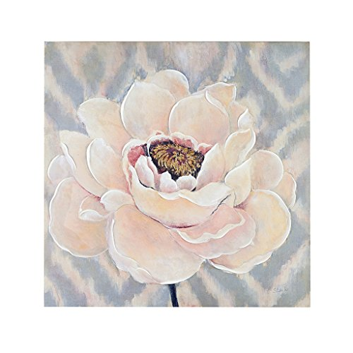 d Blossoms Hand Embellished Floral Canvas Wall Art 30X30, Transitional Wall Décor ()