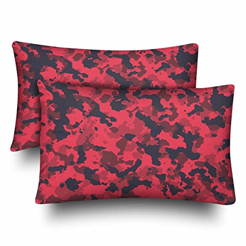 InterestPrint Seamless Fashion Elite Red Urban Horizontal Camouflage Pattern Pillow Cases Pillowcase Queen Size 20x30 Set of 2, Rectangle Pillow Covers Protector for Home Sofa Bedroom Decoration