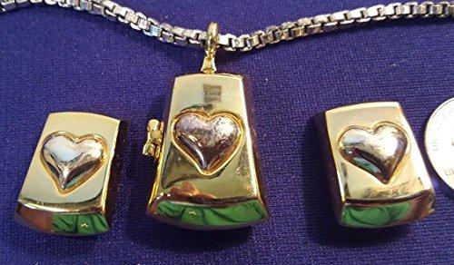 Liz Claiborne Jewelry (Goldtone LCi LIZ CLAIBORNE Locket HEART Necklace w Matching Clip On Earrings)
