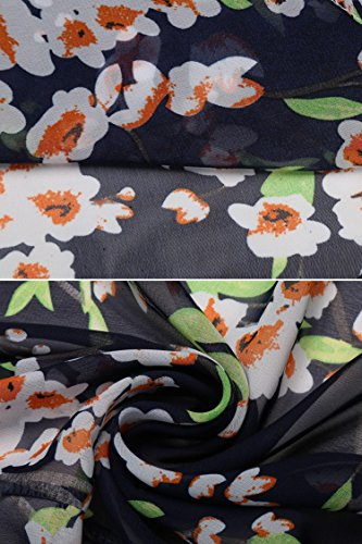 Meaneor Kimono Gasa Chaqueta Mujeres Dobladillo Asimétrico Impresión Floral Pura Azul
