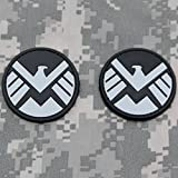 AVENGERS Movie SHIELD Logo Costume Shoulder Patch Cosplay Set of 2 - Agents of SHIELD PVC Rubber Morale Patch by NEO Tactical Gear (Black and Gray)
