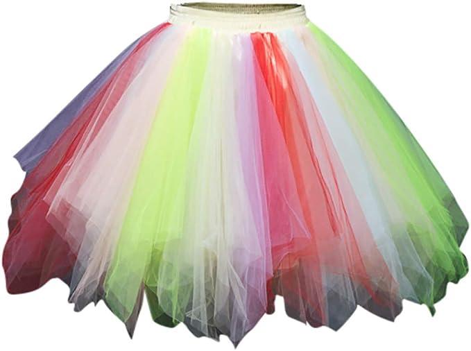 Vectry Faldas Mujer Falda De Tul De Malla Multicolor Princesa ...
