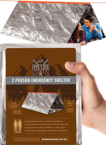 2nd Tents - World's 2nd Toughest Ultralight Survival Tent  2 Person Mylar Emergency Shelter Tube Tent + Paracord (425 lb Strength)  Year-Round All Weather Protection For Hiking, Camping, Outdoor Survival Kits