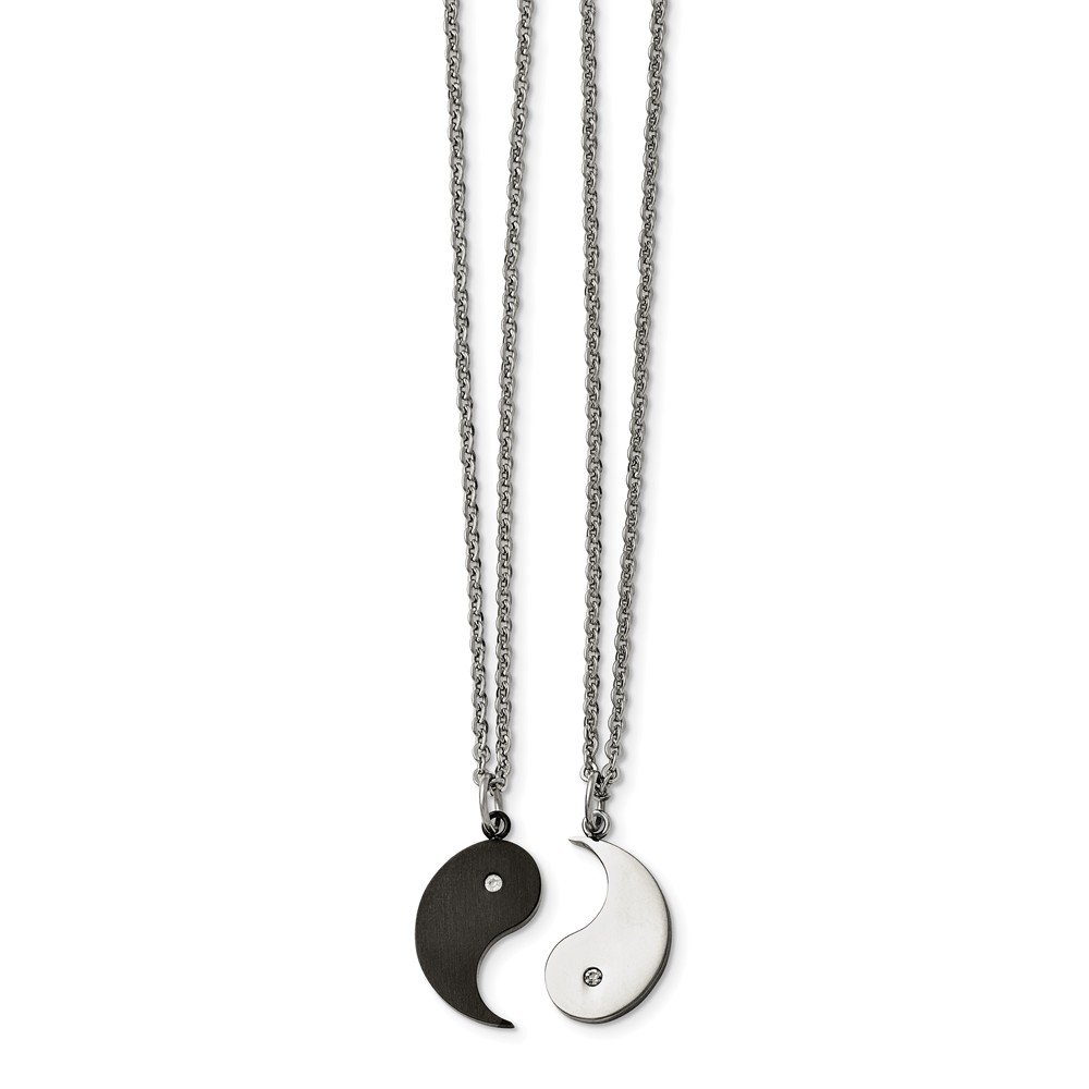 Stainless Steel 1 2 Black IP Plated Yin CZ /& 1 2 Yang Necklace Set 20 Inches
