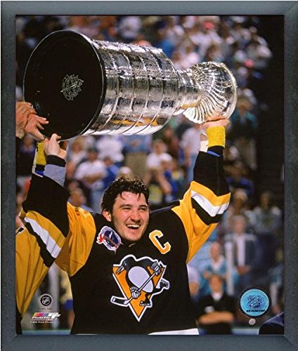 "Mario Lemieux Pittsburgh Penguins NHL Stanley Cup Photo (Size: 17"" x 21"") Framed"