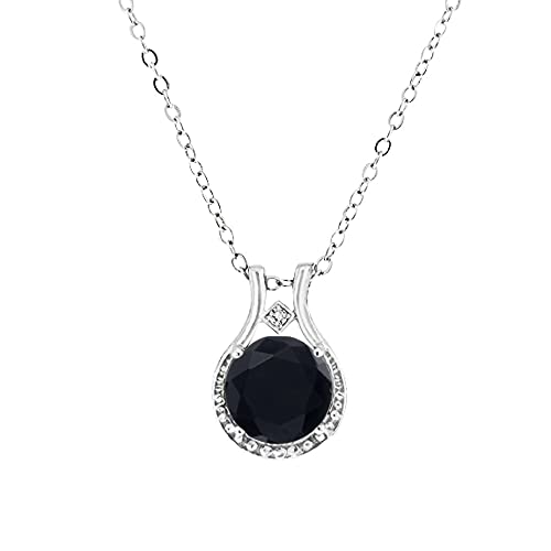 Voss Agin Ladies Genuine Diamond and Black Onyx Halo Pendant 3.00 CTW in Sterling Silver, 18 Chain w Spring Clasp