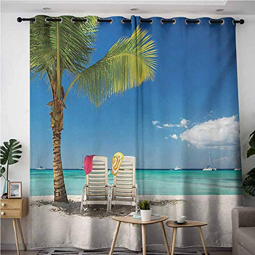 Willsd Kids Curtains,Seaside Relaxing Scene on Remote Beach with Palm Tree Chairs and Boats Panoramic Picture,Insulated with Grommet Curtains for Bedroom,W120x96L,Blue Green
