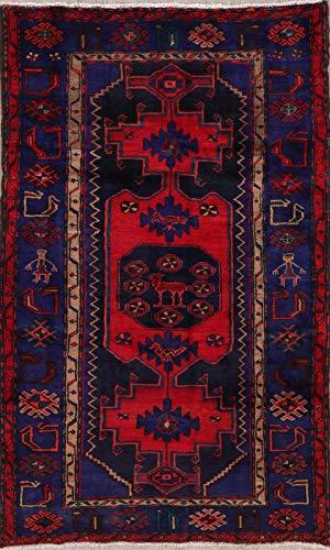(Hamadan Persian Design Area Rug Wool Hand-Knotted Oriental Geometric 4x7 Carpet)
