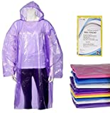 10 Pack Set Rain Ponchos for Adults Lightweight Rain Coat with Longer Drawstring in Hood, Waterproof Rain Gear Accessories Disney, Camping, Travel, Emergency Disposable Rain Coats for Women Men