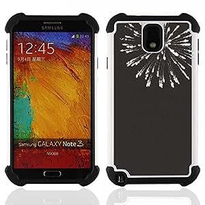 For Samsung Galaxy Note3 N9000 N9008V N9009 - new years black white fireworks 4'th Dual Layer caso de Shell HUELGA Impacto pata de cabra con im????genes gr????ficas Steam - Funny Shop -