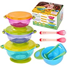 Baby Bowls, Kaptron Set of 3 Suction Baby Feeding Bowls Set with Food Masher, Spoon and Fork, Feeding bowls for toddlers - 3 sizes FDA Approved BPA Free Stackable Spill Proof Suction Bowls with Lids