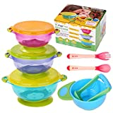 Baby Bowls, Kaptron Set of 3 Suction Baby Bowls with Food Masher, Spoon and Fork, Best for toddlers solid food feeding- 3 sizes Stackable Spill Proof To Go Storage bowls with Seal Easy Lids