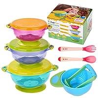 Baby Bowls, Kaptron Set of 3 Suction Baby Feeding Bowls Set with Food Masher,...