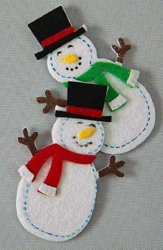 Package of 30- Jolly Felties Snowmen in Top Hats with Sticky Backs