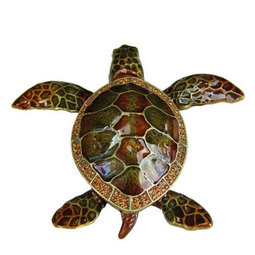 Wild Sea Turtle Box Swarovski Crystals Hawaiian Green