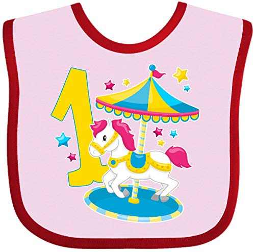 (Inktastic - First Birthday Pony Merry Go Round Baby Bib Pink and Red 2f5ad)