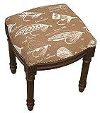 SketchONE Linen Upholstered Vanity Stool, Fly Fishing, Caramel