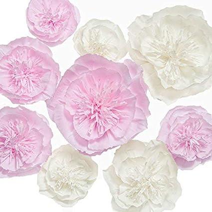 Ling S Moment Paper Flower Decorations Set Of 9 Handcrafted Crepe Paper Flowers Large Paper Flower For Baby Shower Wedding Bridal Shower Nursery
