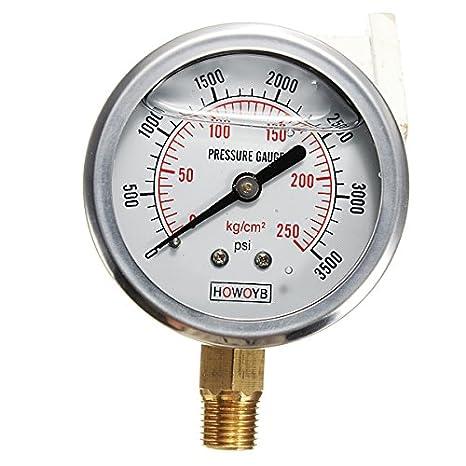 New Hydraulic Liquid Filled Pressure Gauge 0-3500 PSI: Amazon.com: Industrial & Scientific