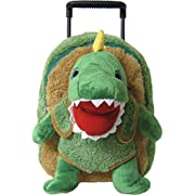 Kreative Kids Adorable T-Rex Rolling Backpack w/Shiny Eyes, Removable Stuffed Toy & Wheels