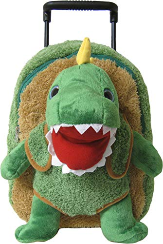 Kreative Kids Adorable T-Rex Rolling Backpack w/Shiny Eyes, Removable Stuffed Toy & ()