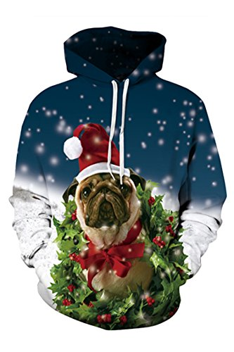 Print Hoodies Sweatshirts Women's Dog 3D With Viottis Christmas Pocket 3D PaxqAwEwRv