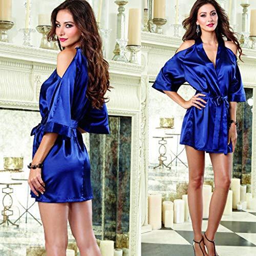 New Sexy Women Silk Lace Robe Loose Long Sleeve V-Neck Ankle-Length Nightdress Sleepwear with Belt 2Pcs Sleepwear Blue ()