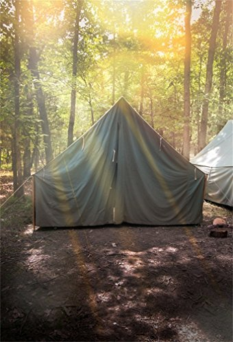 CSFOTO 5x7ft Background for Boy Scouts Group of Canvas Tents at Campground Summer Camp Photography Backdrop Overnight Jungle Forest Travel Adventure Children Photo Studio Props Polyester -