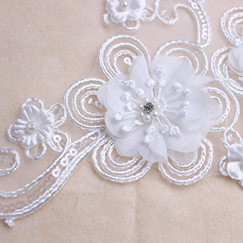 Off White Elagant Pearl Beaded 3D Sequin Floral Applique for DIY Wedding Dance Shirt Dressing Costume ()