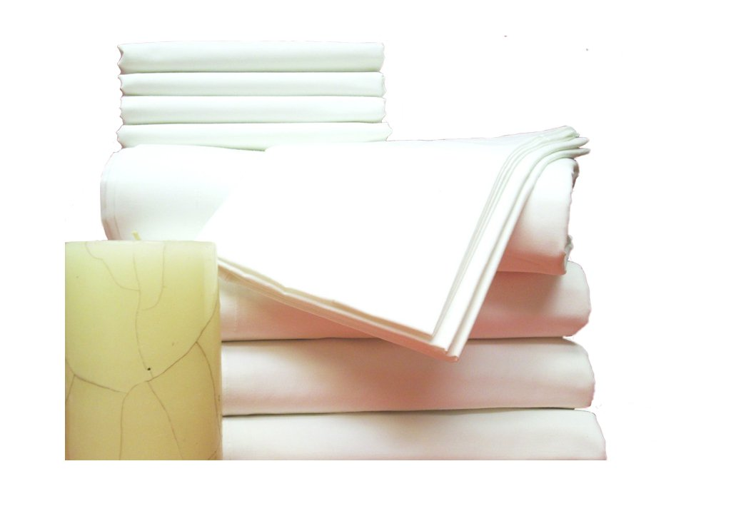 12 Percale Fitted Bed Sheets, Twin, White 36x84x9 with 9'' Pocket, T180 Sheet by Atlas