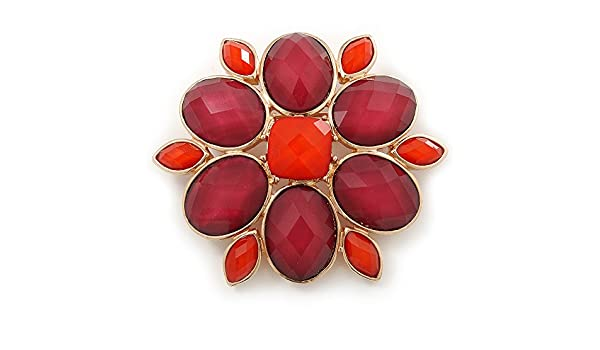 Avalaya Carrot Red/Cranberry Acrylic Stone Flower Corsage Brooch In Gold Tone - 55mm Diameter