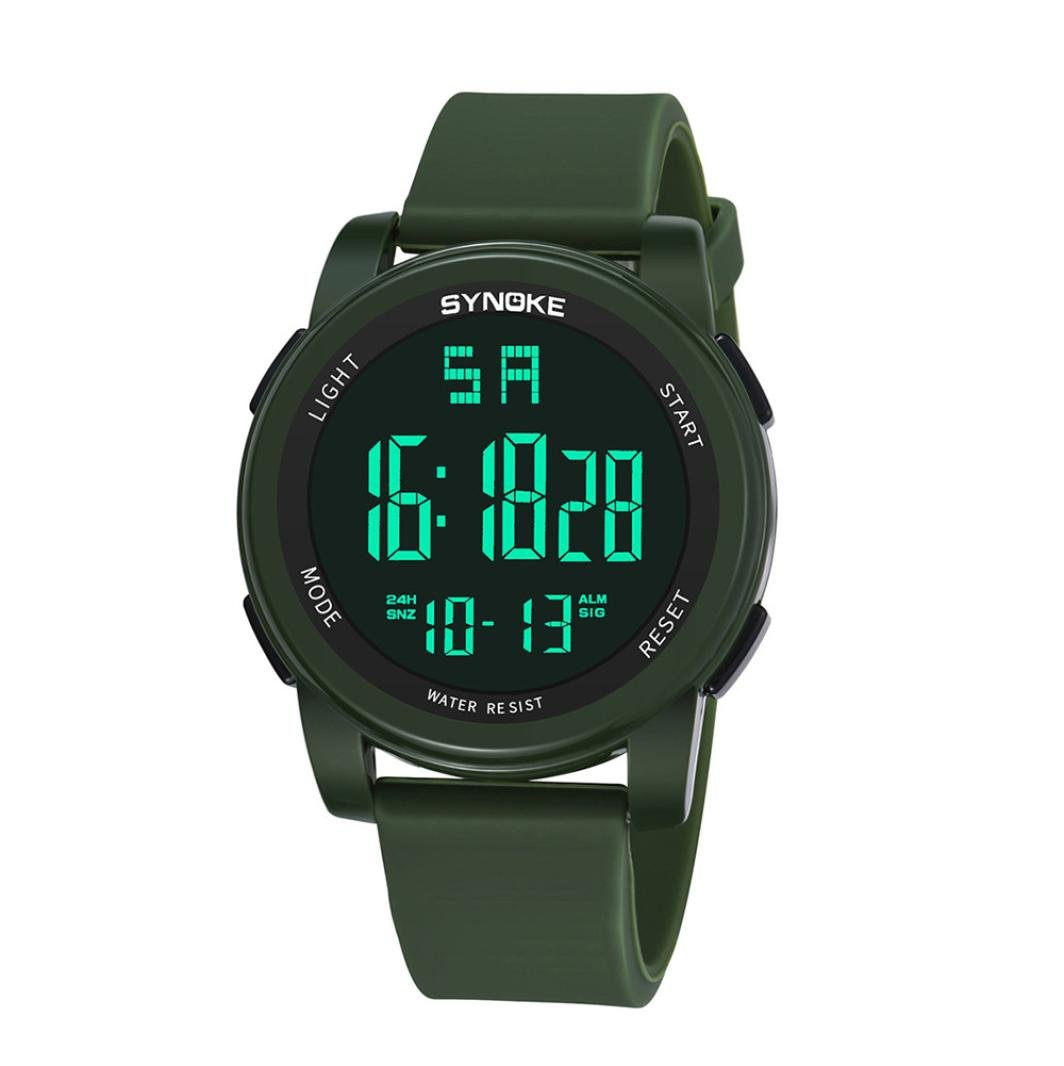 Iuhan® Sports Watches for Men Boys Teens, Men's Digital Sports Watch LED Screen Large Face Military Watches and Waterproof Casual Luminous Stopwatch Alarm Simple Army Watch (Army Green)