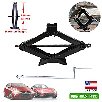2 Ton Car Jack Scissor Wind Up Lift Black Steel Rustproof + Chromed Crank Speed Handle for Car Van Vehicles Emergency Garage Tools