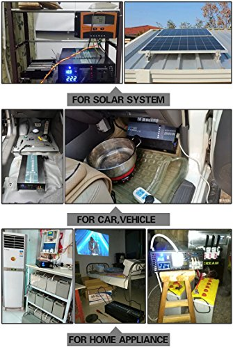Reliable 800W LED Display Home Generator True Pure Sine Wave Solar Power Inverter Off Grid DC to AC 24V 120V Converter (Black) by WZRELB (Image #7)
