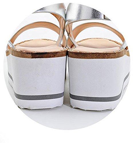 Zapatos Casual Hebilla Plataforma Plateado Cuñas Mujeres Tacones Xianshu Sandalias OznZx4S